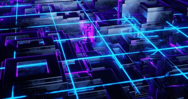 3d backgound illustration néon lueur abstrait papier peint futuriste rétro ligne