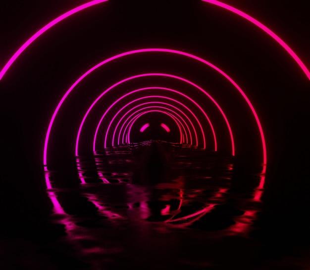 3d backgound illustration néon lueur abstrait papier peint futuriste rétro