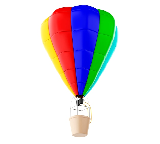 3d ballon d'air chaud coloré. fond blanc isolé