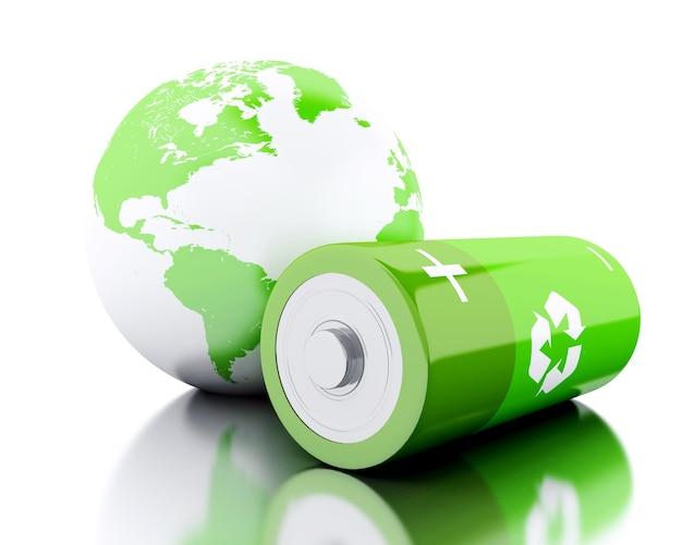 3d batterie verte avec symbole de recyclage et globe terrestre