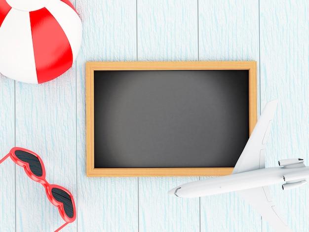 3d blackboard, avion, ballon de plage et lunettes de soleil.
