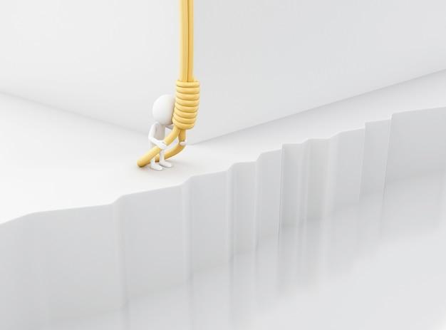 3d blanc essayant de se pendre