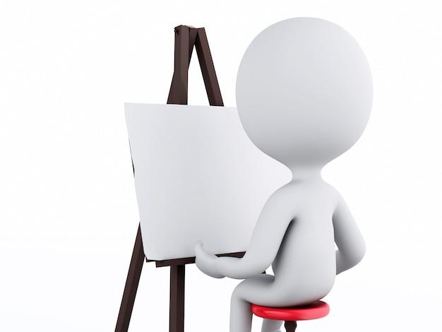 3d blanc peintre avec un chevalet
