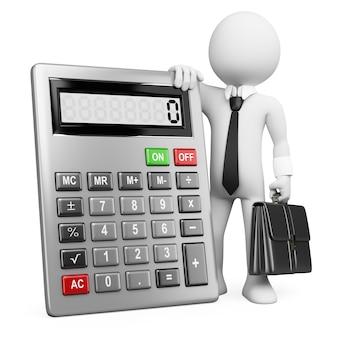 3d blancs d'affaires. homme d'affaires avec calculatrice.