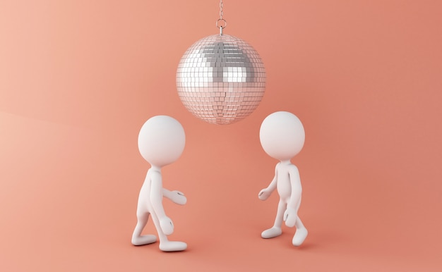 3d les blancs danser avec disco ball