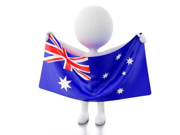 3d blancs avec un drapeau australien.