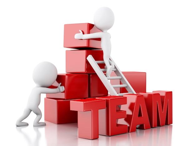 3d les blancs grimper les échelles. concept de travail d'équipe.
