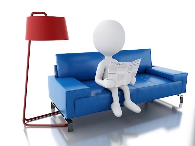 3d blancs lisant un journal, assis sur un fauteuil.
