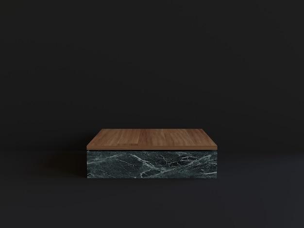 3d bois marbre podium fond noir géométrique
