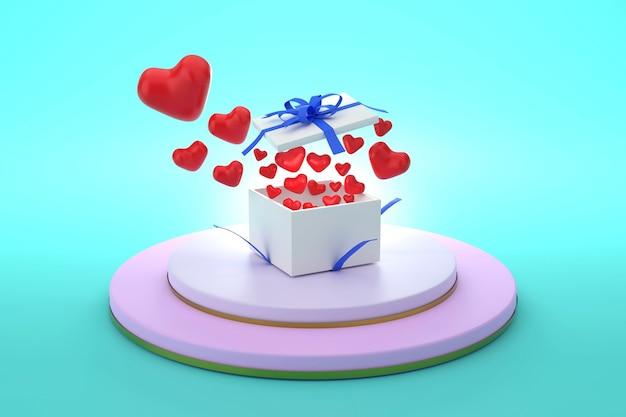 3d une boîte-cadeau avec un couvercle ouvert situé sur le podium et des coeurs volants concept d'amour et de don