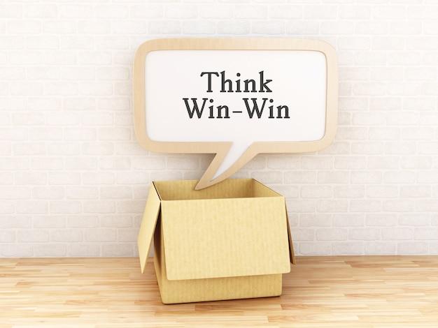 3d boîte ouverte et bulle de dialogue avec penser gagnant-gagnant