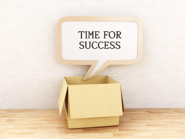 3d boîte ouverte avec bulle de dialogue avec le temps pour réussir