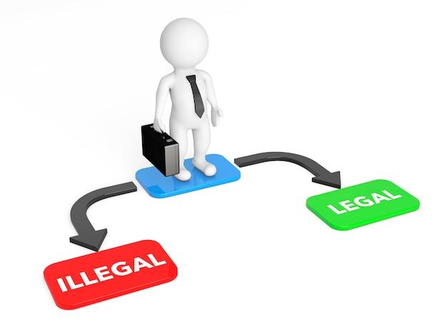 3d businessman with choice arrow points legal et illégal sur fond blanc. rendu 3d