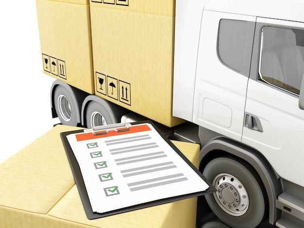 3d camion avec des boîtes de carton avec la liste de contrôle