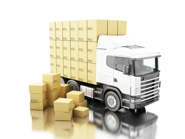 3d camion avec des boîtes de carton sur palette