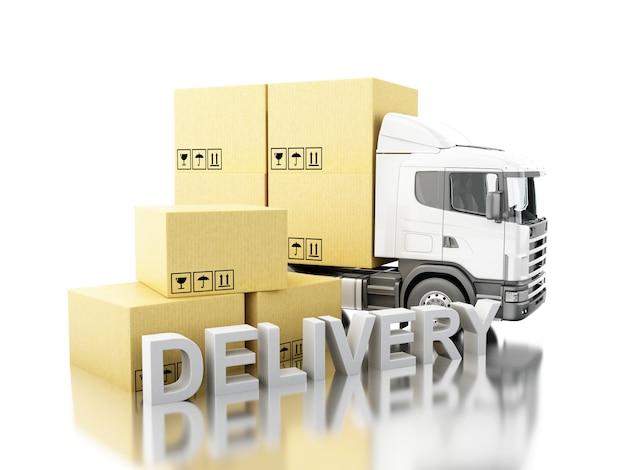 3d camion avec des boîtes de carton et
