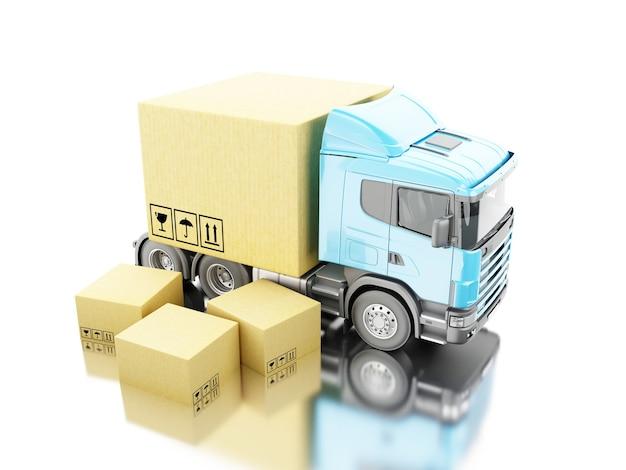 3d camion avec des boîtes de carton