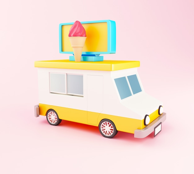 3d camion de nourriture de crème glacée.