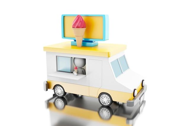 3d camion de nourriture de crème glacée