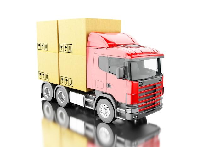 3d camion transporter des boîtes de carton