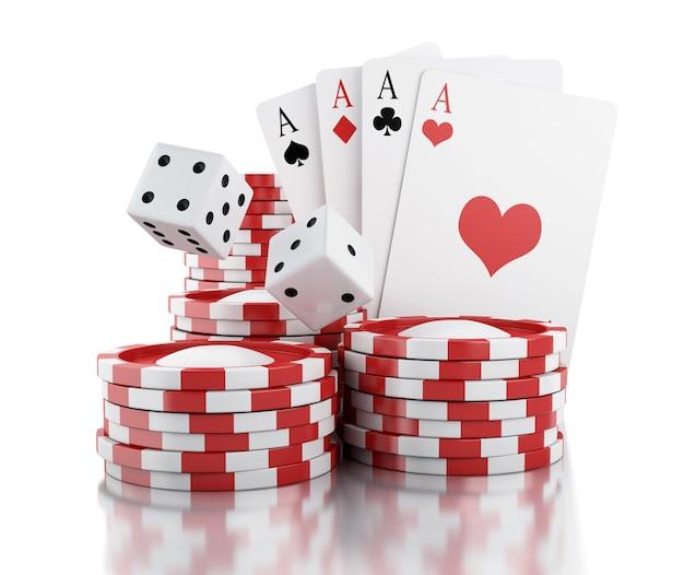 3d dés, cartes et jetons. concept de jeu.