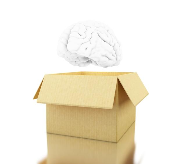 3d cerveau avec une boîte en carton. pensez hors des sentiers battus.