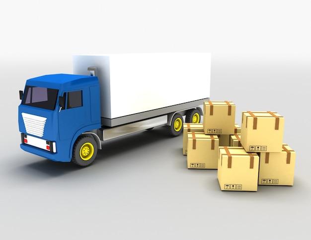 3d, chargement, camion, concept., 3d, illustration