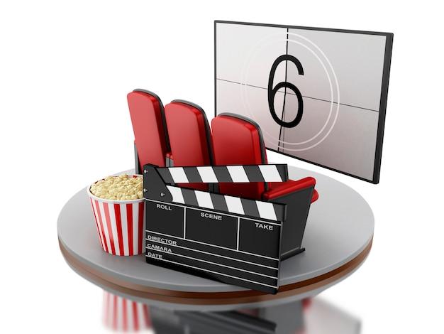 3d cinéma salle de cinéma avec pop-corn et applaudissements cinéma.