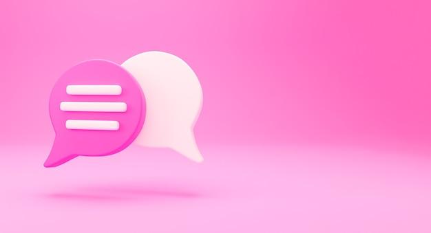 3d concept de conversation de chat minimal. icône de chat de bulle de discours de groupe isolé sur fond rose. concept de chat sur les médias sociaux créatifs de message symbole de communication ou de chat de commentaire. rendu 3d