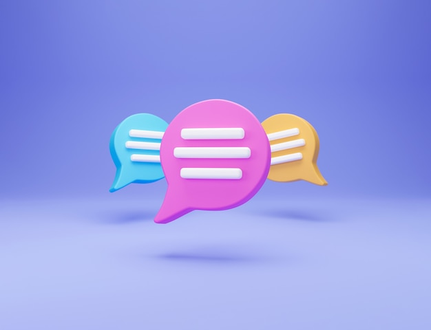 3d concept de conversation de chat minimal. trois icône de chat de bulle de discours isolé sur fond bleu. concept de chat sur les médias sociaux créatifs de message symbole de communication ou de chat de commentaire. rendu 3d