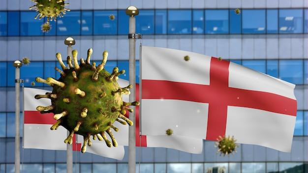 3d, coronavirus de la grippe flottant au-dessus du drapeau de l'angleterre avec une ville de gratte-ciel moderne. bannière anglaise agitant avec le concept d'infection par le virus de la pandémie de covid19. enseigne de texture de tissu véritable