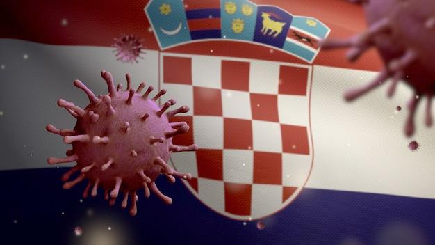 3d, coronavirus de la grippe flottant au-dessus du drapeau croate, un agent pathogène qui attaque les voies respiratoires. bannière de la croatie agitant avec le concept d'infection par le virus de la pandémie de covid19. enseigne de texture de tissu véritable