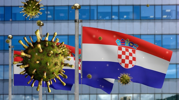 3d, coronavirus de la grippe flottant au-dessus du drapeau croate avec une ville de gratte-ciel moderne. bannière de la croatie agitant avec le concept d'infection par le virus de la pandémie de covid19. enseigne de texture de tissu véritable