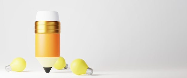 3d, de, crayon, et, ampoules, blanc, surface