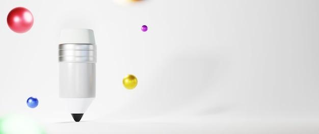 3d de crayon sur une surface blanche avec des sphères colorées