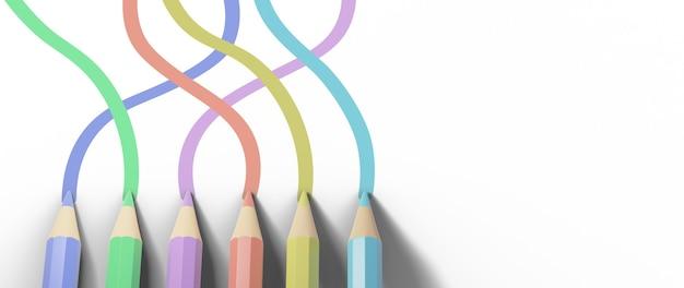 3d de crayons de couleur sur une surface blanche