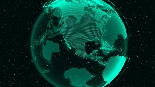 3d digital earth montre le concept de connexion au réseau mondial de personnes internationales. technologie de l'information moderne et concept de mondialisation.