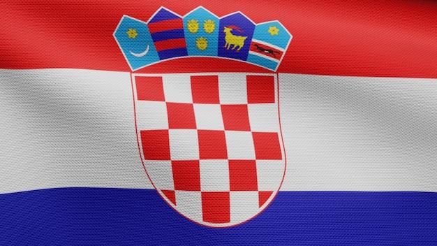 3d, drapeau croate ondulant dans le vent. gros plan sur la bannière de la croatie soufflant, soie douce et lisse. fond d'enseigne de texture de tissu de tissu.