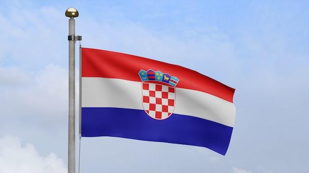 3d, drapeau croate ondulant sur le vent avec le ciel bleu et les nuages. bannière croate soufflant, soie douce et lisse. fond d'enseigne de texture de tissu de tissu. utilisez-le pour le concept d'occasions de fête nationale et de pays.