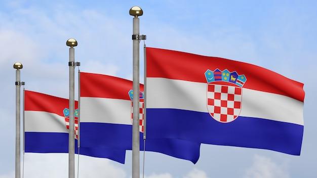 3d, drapeau croate ondulant sur le vent avec le ciel bleu et les nuages. gros plan sur la bannière de la croatie soufflant, soie douce et lisse. fond d'enseigne de texture de tissu de tissu.