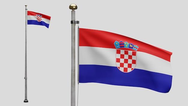 3d, drapeau croate ondulant sur le vent. gros plan sur la bannière de la croatie soufflant, soie douce et lisse. fond d'enseigne de texture de tissu de tissu. utilisez-le pour le concept d'occasions de fête nationale et de pays.