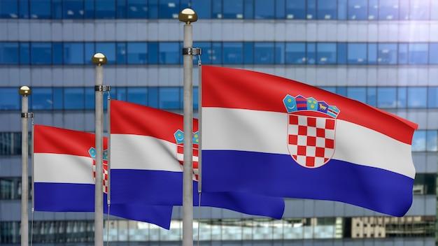 3d, drapeau croate ondulant sur le vent avec la ville moderne de gratte-ciel. bannière de la croatie soufflant de la soie lisse. fond d'enseigne de texture de tissu de tissu. utilisez-le pour le concept d'occasions de fête nationale et de pays.