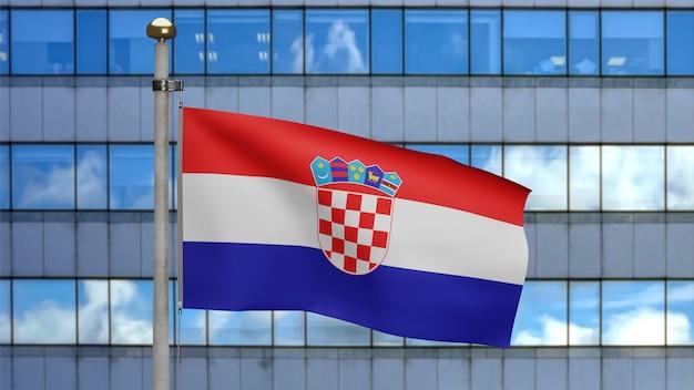3d, drapeau croate ondulant sur le vent avec la ville moderne de gratte-ciel. gros plan sur la bannière de la croatie soufflant, soie douce et lisse. fond d'enseigne de texture de tissu de tissu.