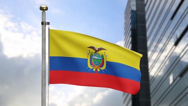 3d, drapeau équatorien ondulant sur le vent avec la ville moderne de gratte-ciel. gros plan sur la bannière de l'équateur soufflant, soie douce et lisse. fond d'enseigne de texture de tissu de tissu.