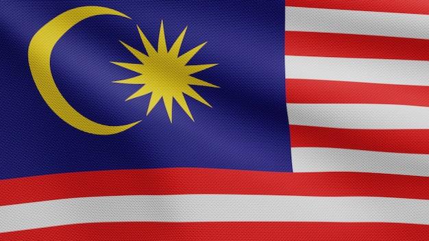 3d, drapeau malais dans le vent. gros plan sur la bannière malaisienne soufflant, soie douce et lisse. fond d'enseigne de texture de tissu de tissu.