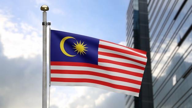 3d, drapeau malaisien ondulant sur le vent avec la ville moderne de gratte-ciel. bannière de malaisie soufflant de la soie douce. fond d'enseigne de texture de tissu de tissu. utilisez-le pour le concept d'occasions de fête nationale et de pays.
