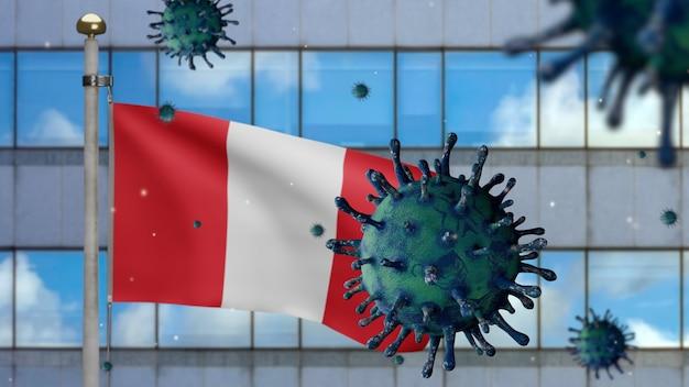 3d, drapeau péruvien agitant avec la ville de gratte-ciel moderne et le concept ncov du coronavirus 2019. épidémie asiatique au pérou, la grippe à coronavirus en tant que pandémie. le virus du microscope covid19 se bouchent.