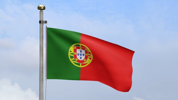 3d, drapeau portugais sur le vent avec ciel bleu et nuages. bannière du portugal soufflant de la soie douce. fond d'enseigne de texture de tissu de tissu. utilisez-le pour le concept d'occasions de fête nationale et de pays.