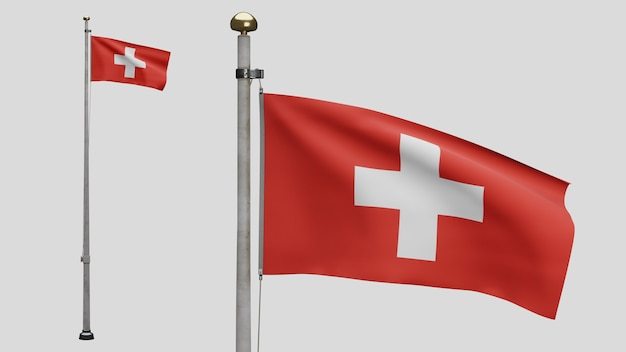 3d, drapeau suisse flottant sur le vent. gros plan de la bannière suisse soufflant, soie douce et lisse. fond d'enseigne de texture de tissu de tissu. utilisez-le pour le concept d'occasions de fête nationale et de pays.