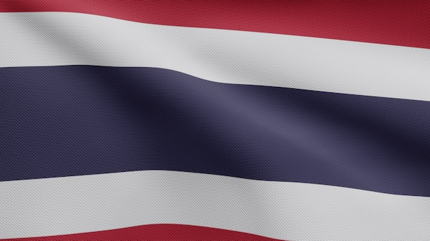 3d, drapeau thaïlandais flottant dans le vent. gros plan sur la bannière thaïlandaise soufflant, soie douce et lisse. fond d'enseigne de texture de tissu de tissu.